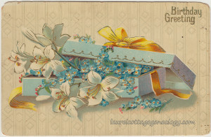Birthday Box of Lillies and Forget Me Nots pc1