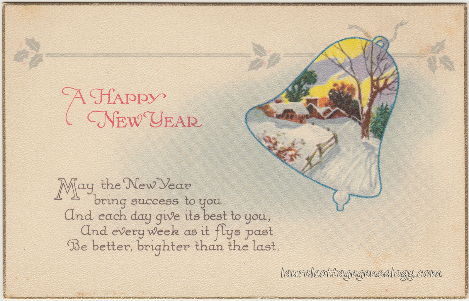Winter Scene in Bell New Year Greetings | Laurel Cottage Genealogy