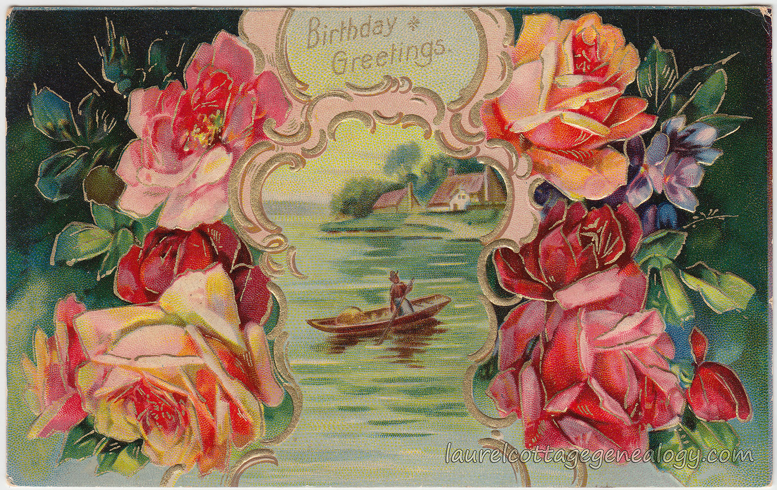 Boat And Roses Birthday Greetings Laurel Cottage Genealogy