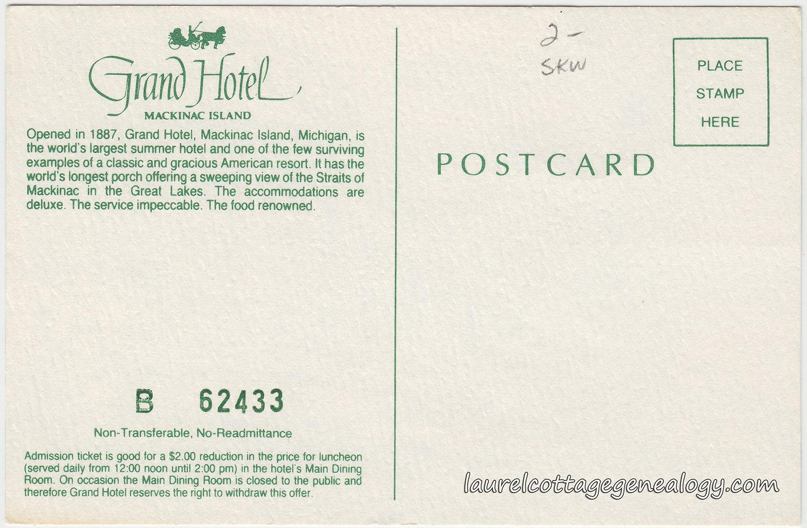 Grand Hotel Mackinac Island Michigan Laurel Cottage Genealogy