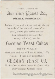 German Yeast Company Trade Card tc2