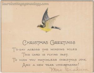 Christmas Greetings From Mrs Graham c1