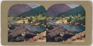 River Logging Stereoscope Card