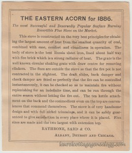 Acorn Stoves & Ranges Trade Card tc2