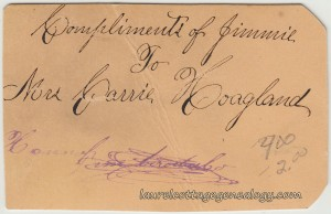 Compliments Of Jimmie To Mrs Carrie Hoagland cdv2