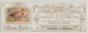 J P Roberts Druggist Book Mark tc1
