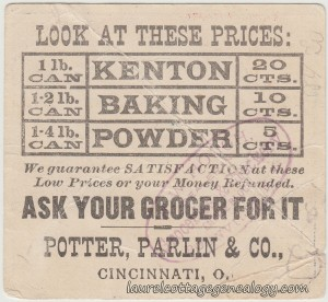 Kenton Baking Powder Trade Card tc2
