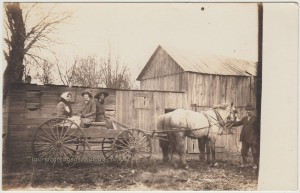 Horse And Wagon Scene Defiance Iowa pc1