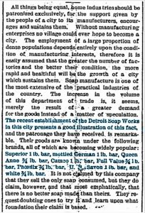 Detroit Soap Co Ad 14 Aug 1881
