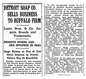 Detroit Soap Sells to Buffalo Firm