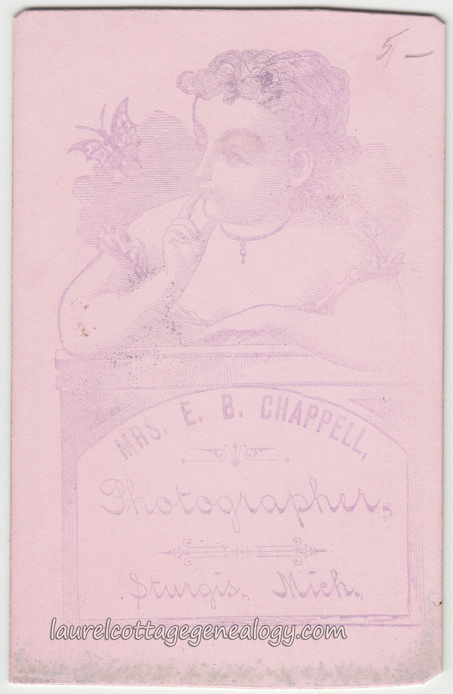 Carte De Visite Circa 1870s Mid 1880s Photographer Mrs E B Chappell