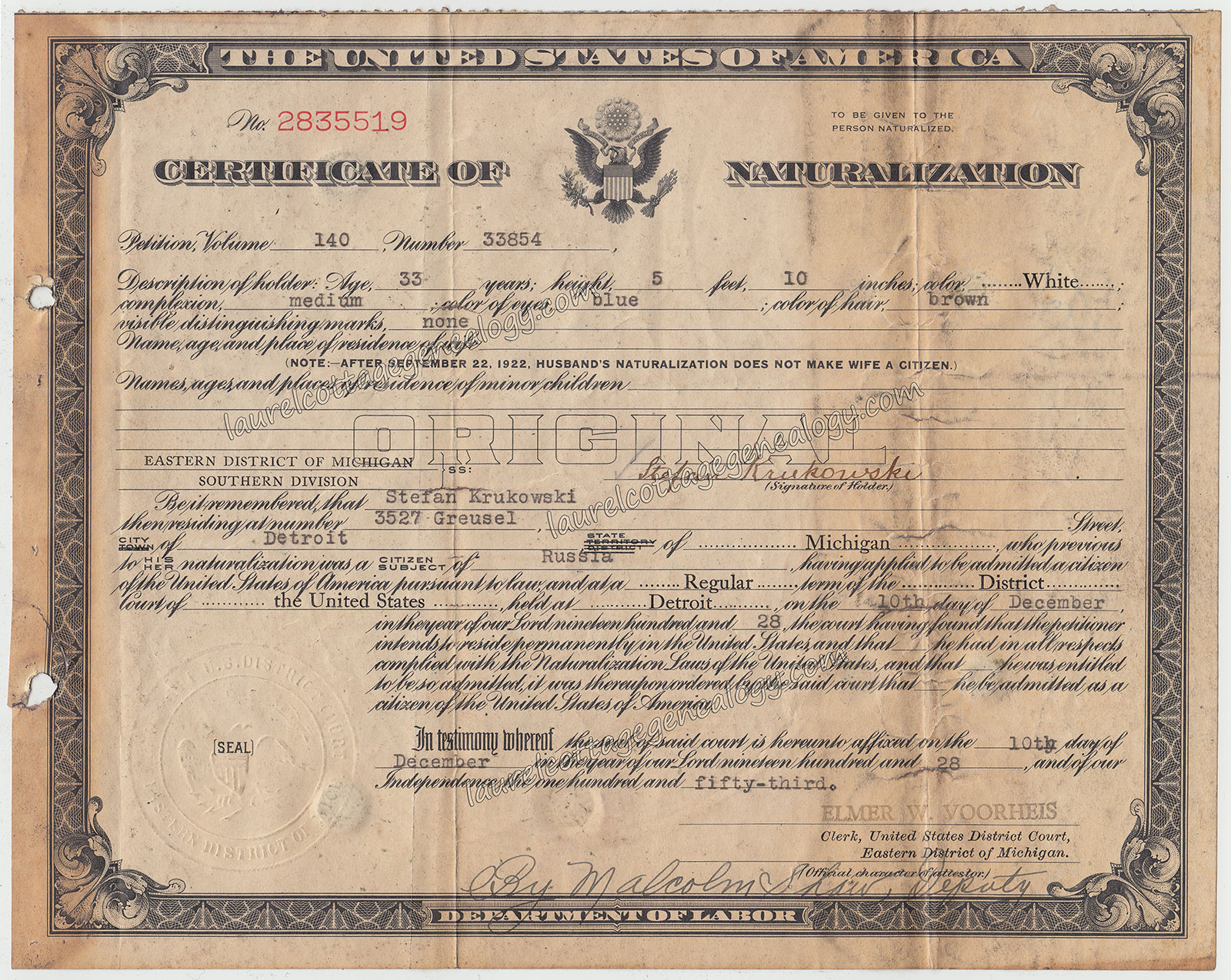 Stefan krukowski naturalization certificate laurel cottage genealogy stefan krukowski naturalization certificate 1betcityfo Choice Image